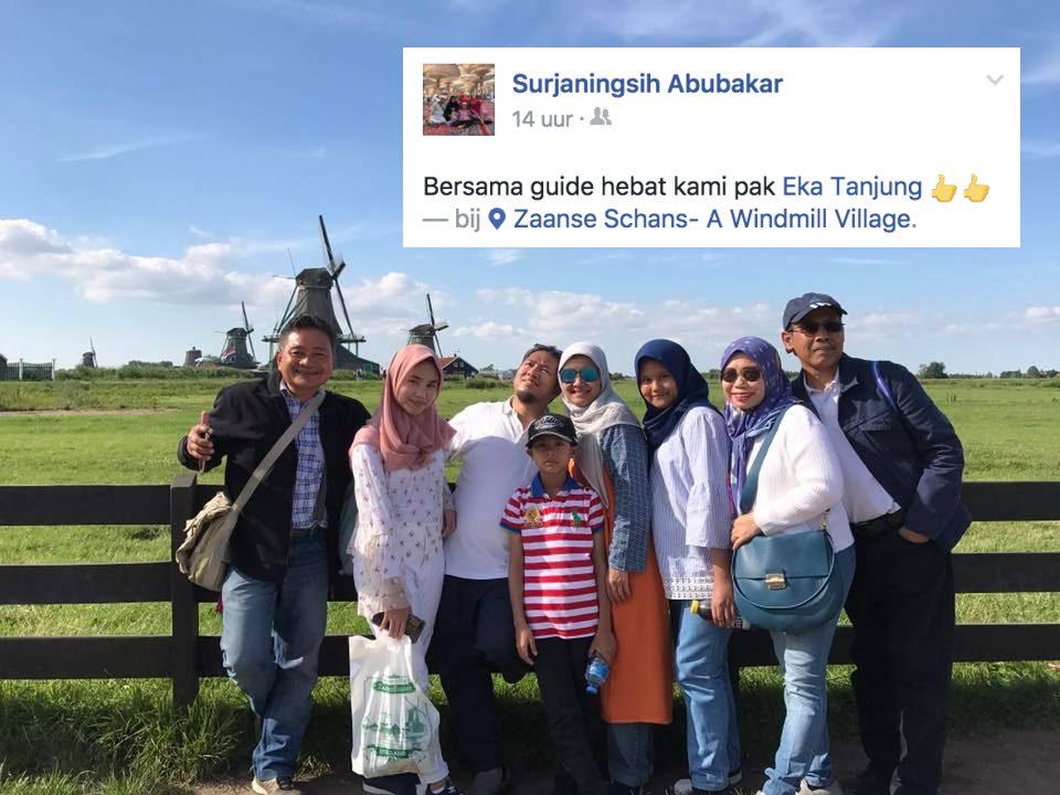 """""""Bersama guide hebat kami Pak Eka Tanjung."""" ungkap ibu Suryaningsih Abubakar dalam halaman Facebooknya. Perjalanan dengan keluarga yang sangat menyenangkan. Belanda tidak bisa dilewati kalau melawat Eropa."""