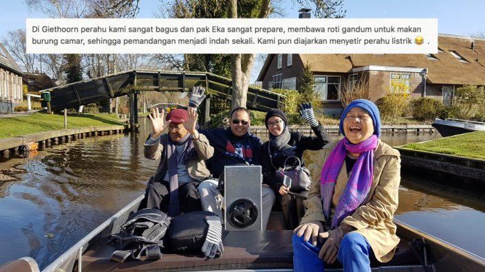 Di Giethoorn, perahu kami sangay bagus dan pak Eka sangat prepared. Pemandangan di sana sangat indah. Kami pun diajarkan menyetir perahu listrik. Bergembira di Dusun Air Terindah di dunia bernama Giehoorn.