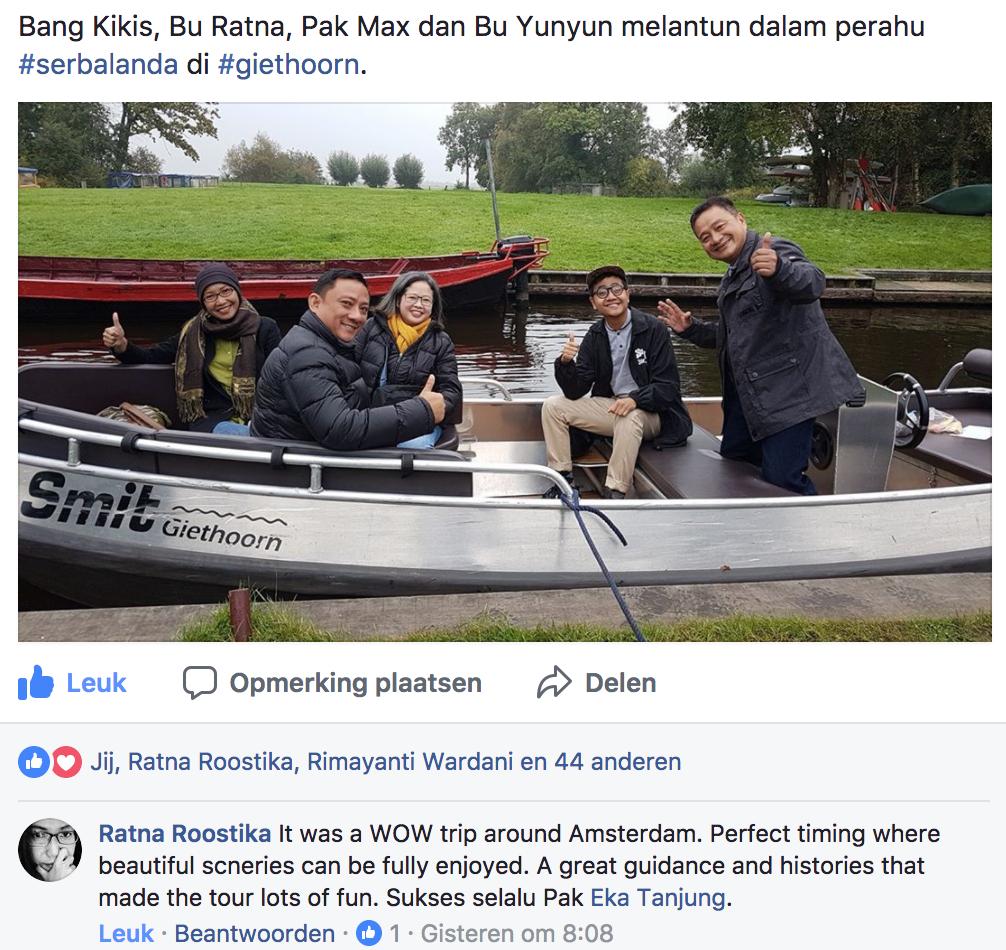 Ratna Roostika puas dengan Serbalanda Tour. Berwisata ke Giethoorn yang memuaskan.