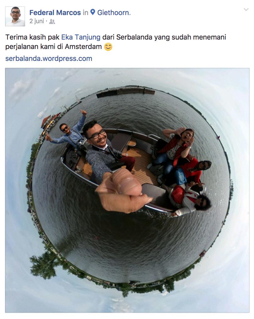 """Federal Marcos:""""Terima Kasih Pak Eka Tanjung dari Serbalanda yang menemani perjalanan kami di Amsterdam."""""""