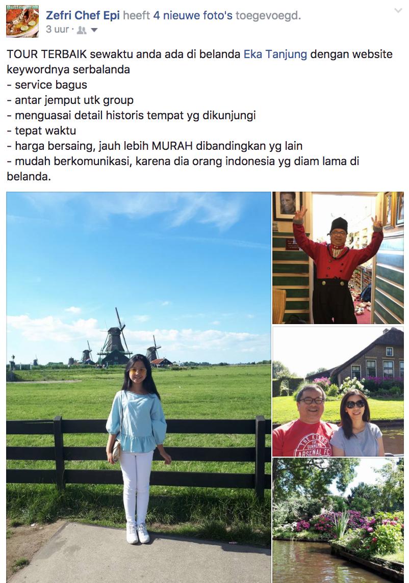 Tour Terbaik Sewaktu Anda di Belanda. Eka Tanjung dengan website nya: Service bagus, antar jemput untuk group, menguasai detail historis tempat yang dikunjungi, tepat waktu, harga bersaing, jauh lebih murag dibanding yang lain. Mudah berkomunikasi karena dia orang Indonesia yang diam lama di Belanda.