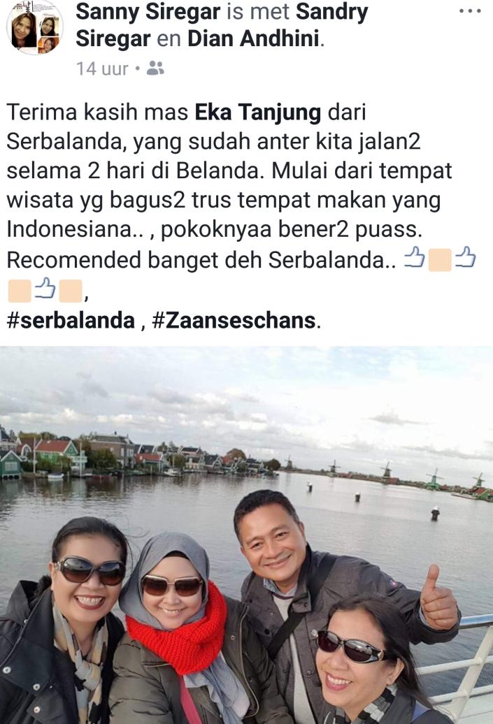 Terima Kasih Mas Eka Tanjung dari Serbalanda yang sudah anter kita jalan-jalan selama dua hari di Belanda. Mulai dari tempat wisata yang bagus-bagus trus tempat makan yang Indonesiana. Pokoknya benar-benar puas. recommended banget deh Serbalanda.