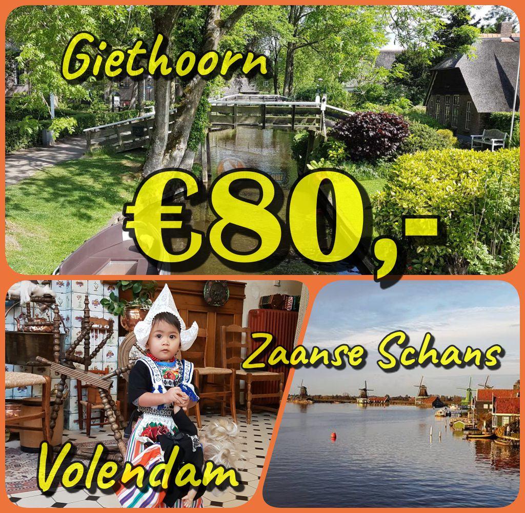 Wisata Bersahabat ke : Giethoorn, Zaanse Schans, Volendam, Bonus bisa: Schokland dan Rumah Barbie di Zaandam.