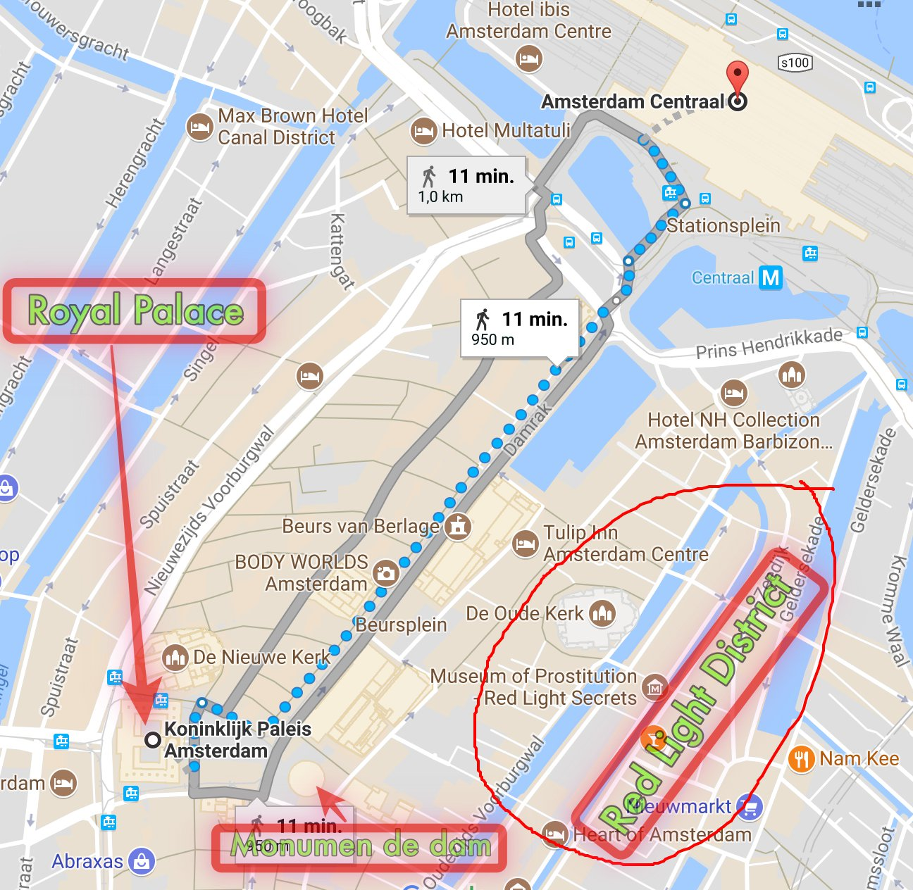 Kawasan Wisata Dekat Stasion Amsterdam. Tuga de Dam, Istana Kerajaan, Burung dara di De Dam, Red Lights District