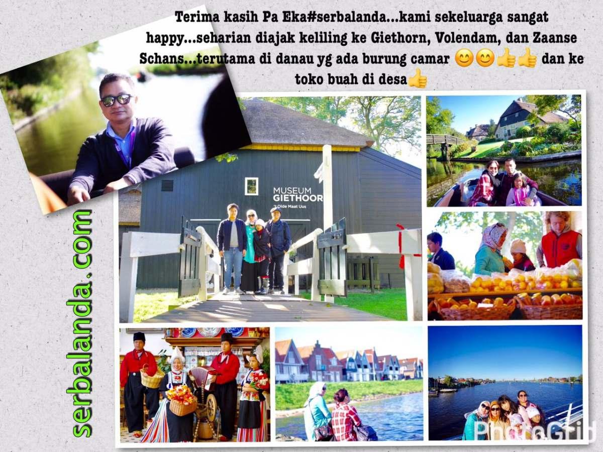 Terima Kasih pak Eka #serbalanda kami sekeluarga sangat happy. Seharian diajak keliling ke Giethoorn, Volendam dan Zaanse Schans. Terutama di danau yang ada burung Camar dan ke toko buah di desa.