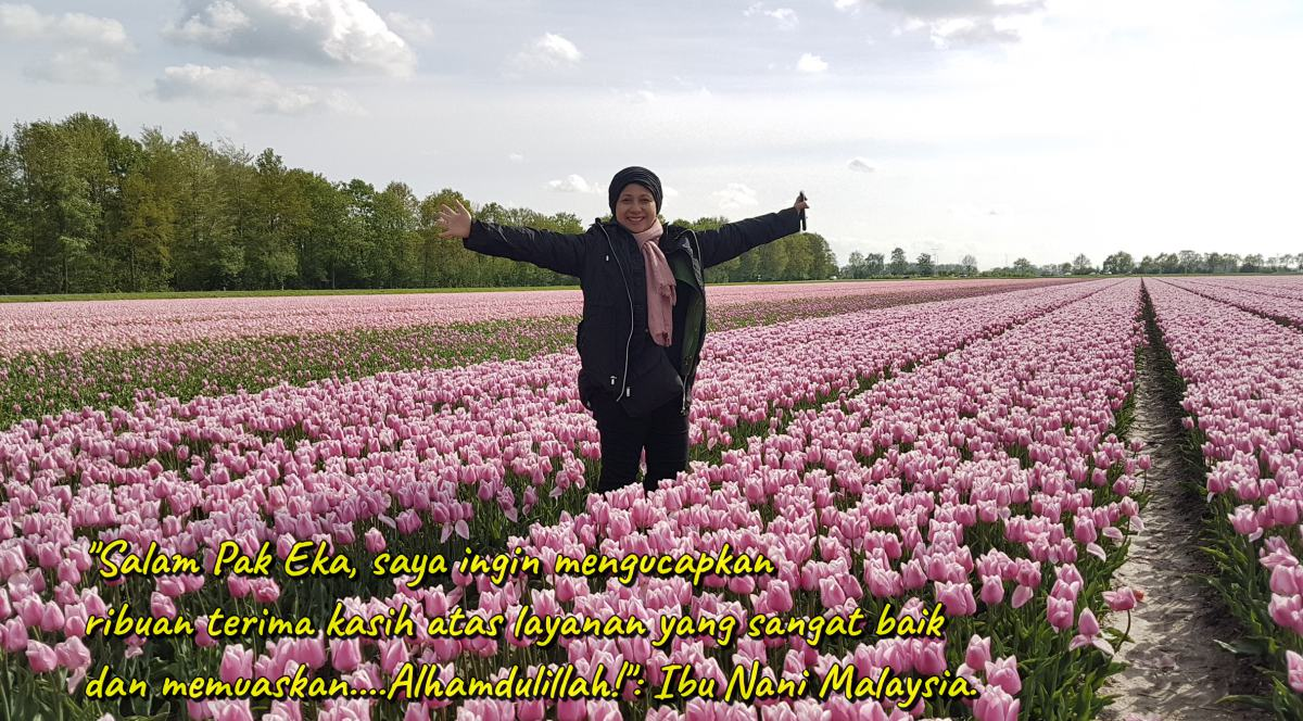 Testimoni dari ibu Nani Malaysia: Salam Pak Eka, saya ingin mengucapkan ribuan terima kasih atas layanan yang sangat baik dan memuaskan. Alhamdulillah.