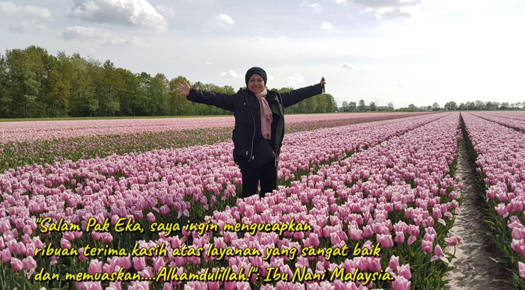 Wisatawan Indonesia jalan-jalan bersama serbalanda tour. Senangnya jalan melihat ladang tulip, Belanda musim semi, Giethoorn, Volendam dan Zaanse Schans