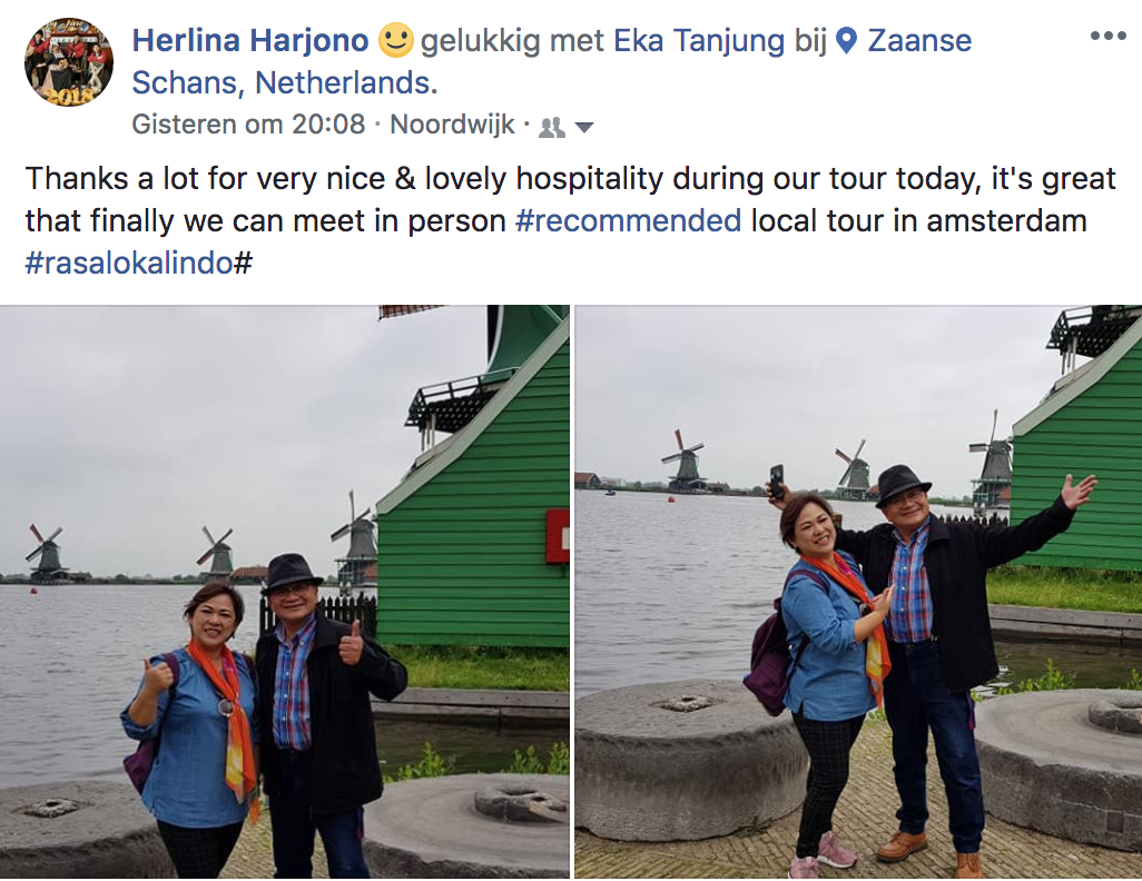 Herlina Harjono: Thanks a lot for very nice & lovely hospitality during our tour today. It's great that finaly we can meet in person. Recommended local tour in Amsterdam. Rasalokalindo
