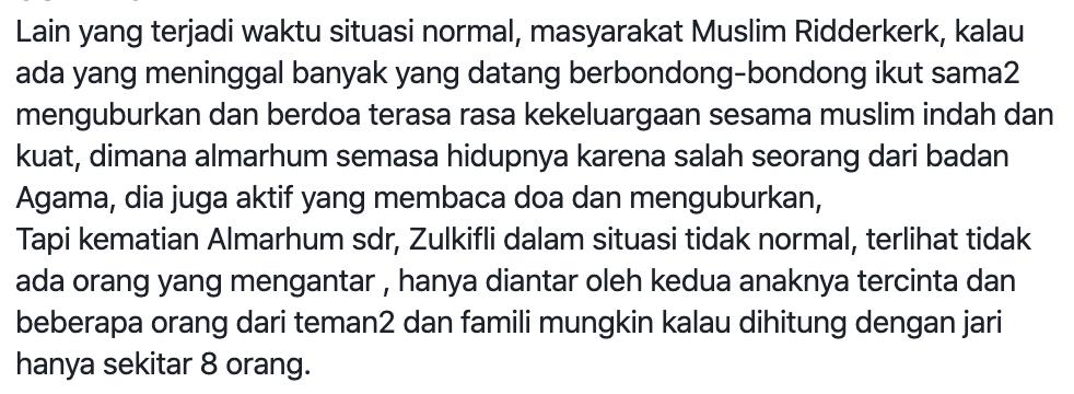 Zulkifli Murad, Muslim Ridderkerk, Muslim Maluku di Belanda, Pemakaman Muslim saat Corona.
